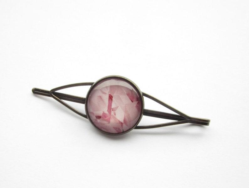 70s80s boho, hair clip bronze plain minimalist hippie style light pink hair clip ice crystal bohemian