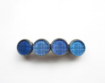jeans blue hair clip large, boho hair accessories blue