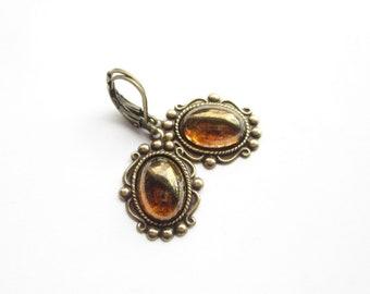 chocolate brown earrings vintage, earrings romantic, boho style, earrings Art Nouveau, earrings antique,