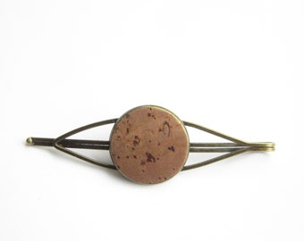 Cork hair clip, light brown cork hair clip, simple minimalist, natural jewelry