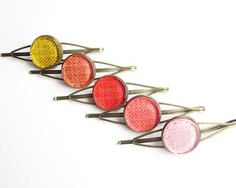 Color choice hair clip, hair clip color choice yellow, orange, red, coral, pink