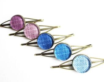 Color choice hair clip, hair clip color choice purple, lavender, dark blue, jeans blue, light blue