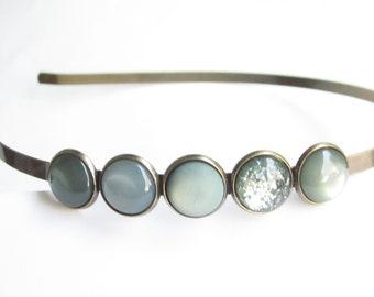 sea green headband, hairband narrow, simple minmalistic, cabochon headband grey green