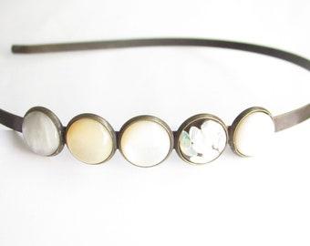cream-white headband, hair jewelry cream, hair band white, hairband simply narrow