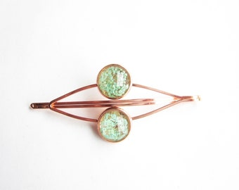 real flowers hair clip, rose gold hair clip in light blue