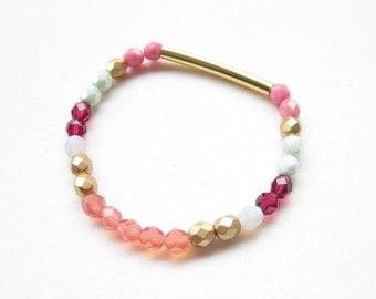 Bracelet stretch, elastic band,boho bracelet,stackable,multicolored bracelet,glass beads,stretch bracelet,pearl bracelet