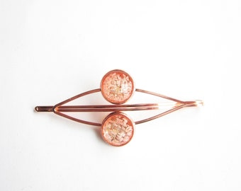 real flowers hair clip, rose gold hair clip in pink