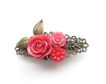 small red flowers hair clip, vintage hairclip, french barette flowers red