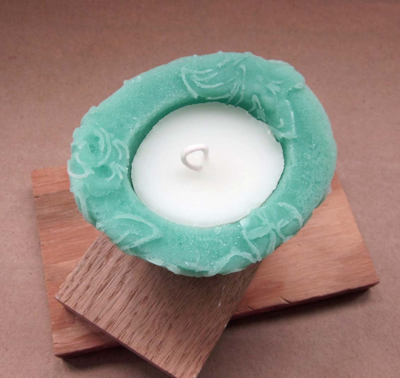 Fresh Mint- Beeswax  Palmwax Candles Sm TealWhite Colors Chantilly Lace Pattern Candle - Gift Guide Natural Wax Candle