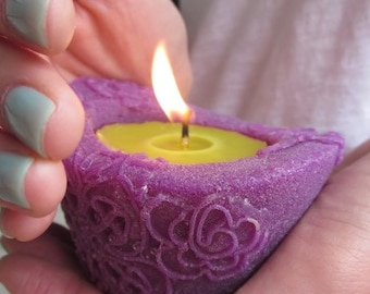 Beeswax Candles, Small Eco Friendly Natural Wax Candle, Purple and Chartreuse Color Candles, Holiday Gift, Housewarming Gift