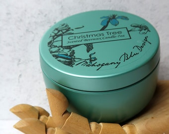 Beeswax Candle, Christmas Tree Scented Candle, Limited Edition, Eco-friendly, Aromatherapy, Teal Candle, Scented Candle, Gift