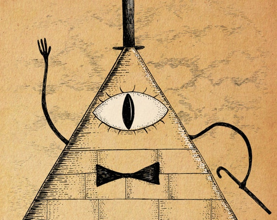 I'll Be Watching You- Gravity Falls inspired Bill Cipher art print A4 A3 8x10
