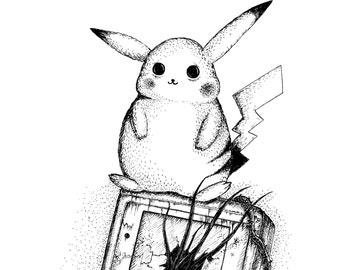 Pikachu- A3 pokemon inspired art print by Jon Turner- cute geeky artwork- FREE WORLDWIDE SHIPPING