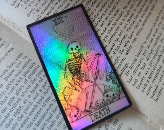 Death Tarot Card holographic rainbow vinyl sticker- laptop sticker