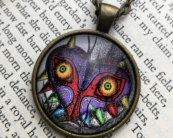 Majora's Mask Necklace- Zelda inspired Circular Art Necklace