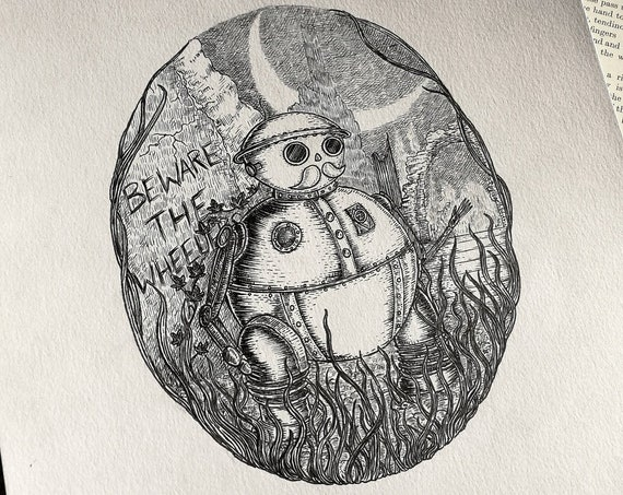 Tik-Tok- Original ink drawing- Return to Oz inspired art
