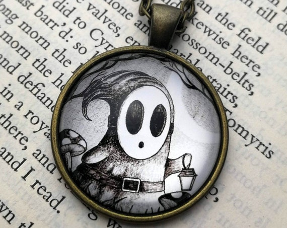Shy Guy Necklace- Circular Art Pendant