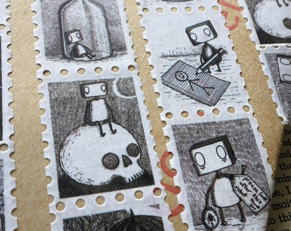 Robots Art Stamp Washi Tape