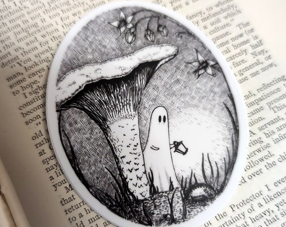 Chanterelle Spook vinyl sticker- spooky mushroom ghost laptop sticker