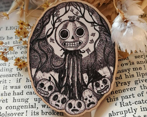 Patient Is The Night Wooden Pin Badge- Over The Garden Wall Enoch pumpkin Inspired