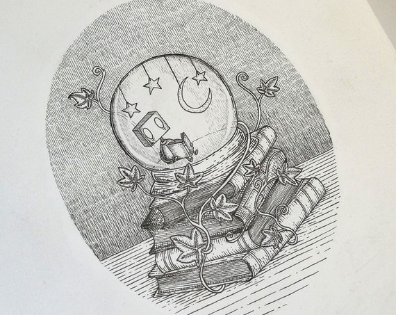 Isolation- Reading Robot original ink drawing