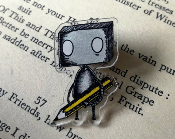 Pencil Robot- Acrylic Pin Badge