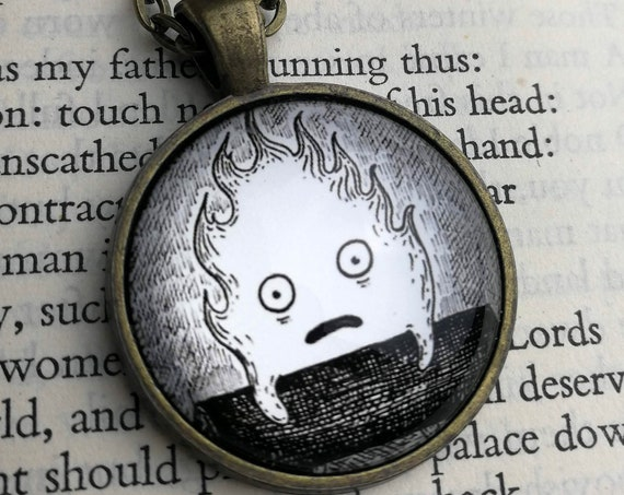 Calcifer Pendant Necklace- Howl's Moving Castle inspired Circular Art Necklace