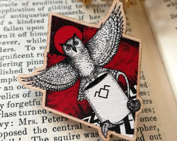 The Owls Are Not What They Seem Wooden Pin Badge- Twin Peaks Inspired