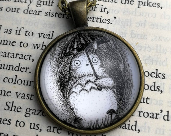 Woodland Neighbour Necklace- Totoro inspired Circular Art Necklace
