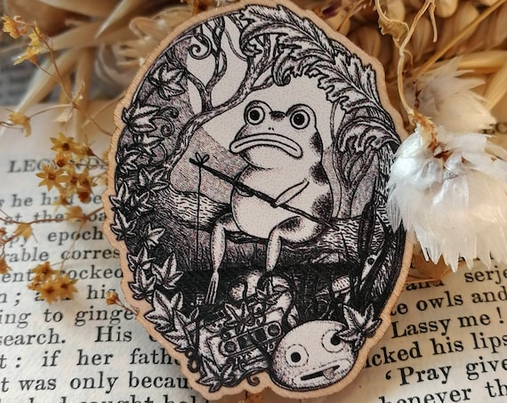 At Night When The Lake Is A Mirror Wooden Pin Badge- Over The Garden Wall frog Inspired