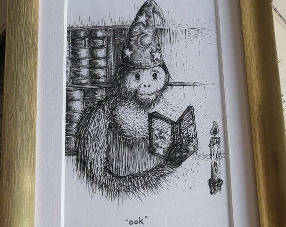 The Librarian- Discworld inspired original ink drawing in gold frame