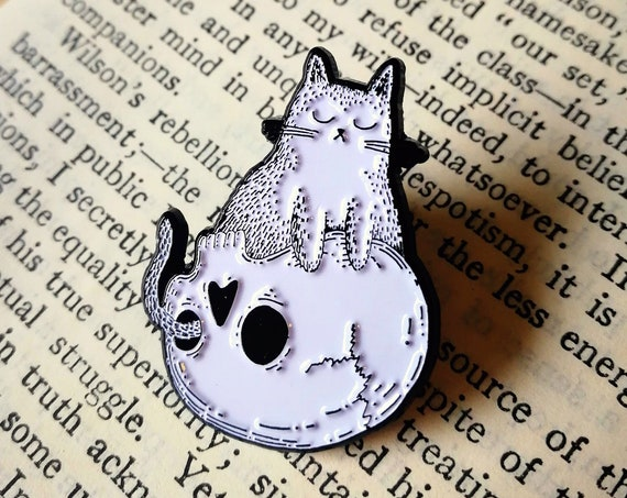 Skull Cat Enamel Pin Badge