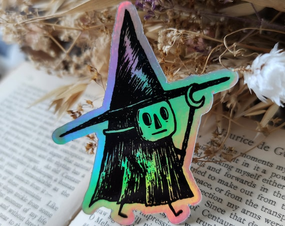 Little Witch holographic vinyl sticker- shiny magical laptop sticker