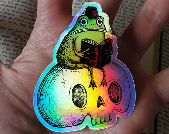 Studious Marshtoad holographic vinyl sticker- shiny toad laptop sticker