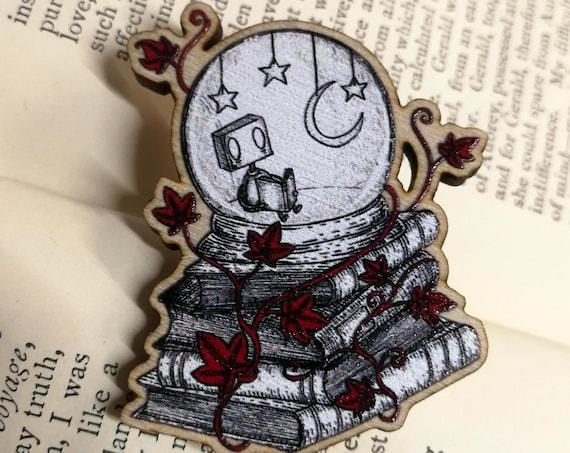 Solitude Robot Wooden Pin Badge