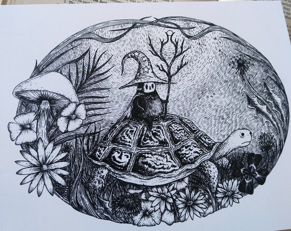 The Wizard of Springtime - magical tortoise art print