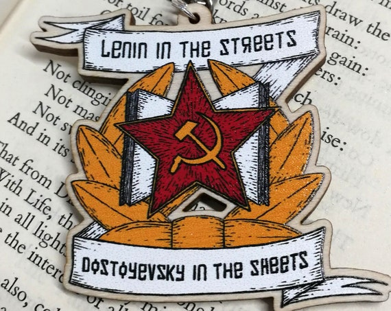 Lenin In The Streets Dostoyevsky In The Sheets wooden keychain- Katya Zamolodchikova Drag Race inspired keyring