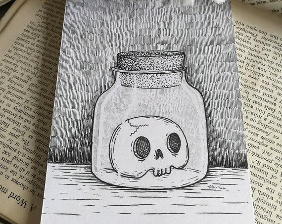 Skull in a Jar- Original ink drawing