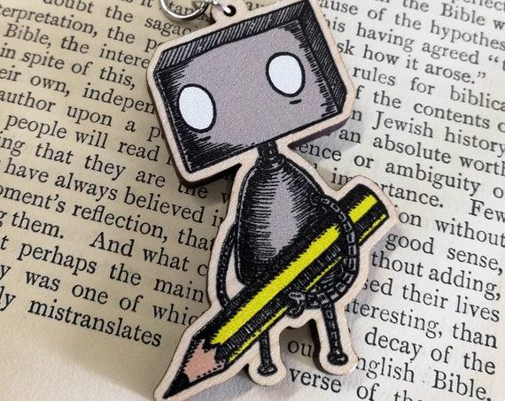 Pencil Robot Wooden Keychain