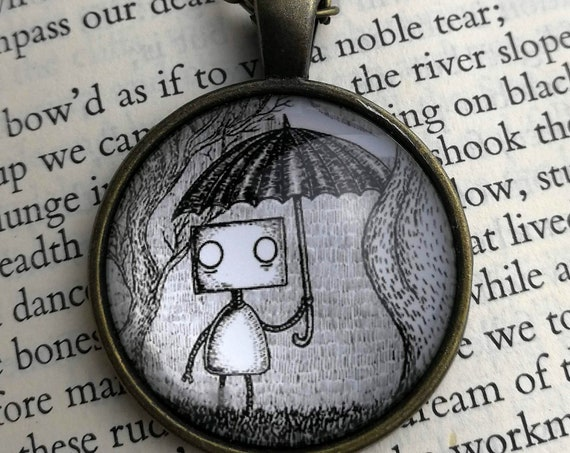 Umbrella Robot Pendant Necklace- Circular Art Necklace
