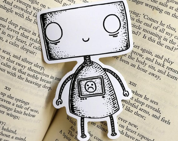 Happy Sad Robot vinyl sticker- laptop sticker