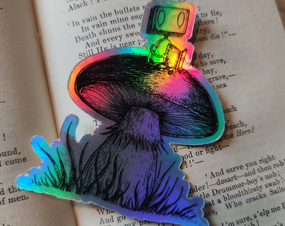 Robot on a Toadstool holographic vinyl sticker- shiny laptop sticker