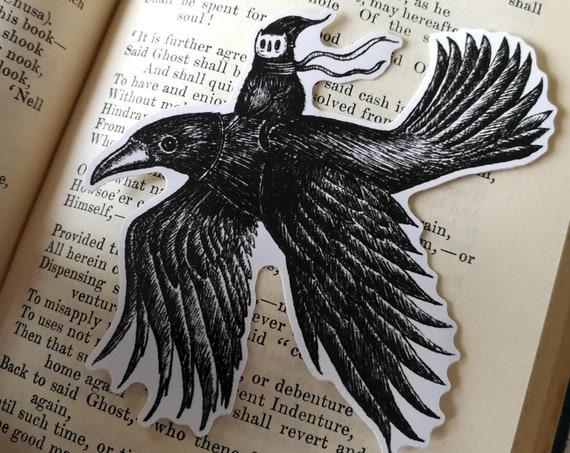Crow Rider vinyl sticker- spooky laptop sticker