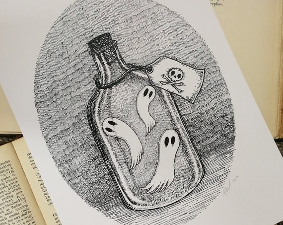 Bottled Spirits- spooky ghosts in a bottle art print