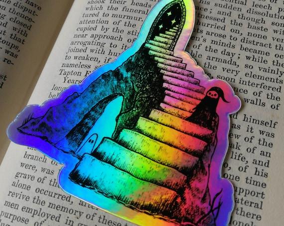Cosmic Stairway holographic vinyl sticker- shiny fantasy laptop sticker