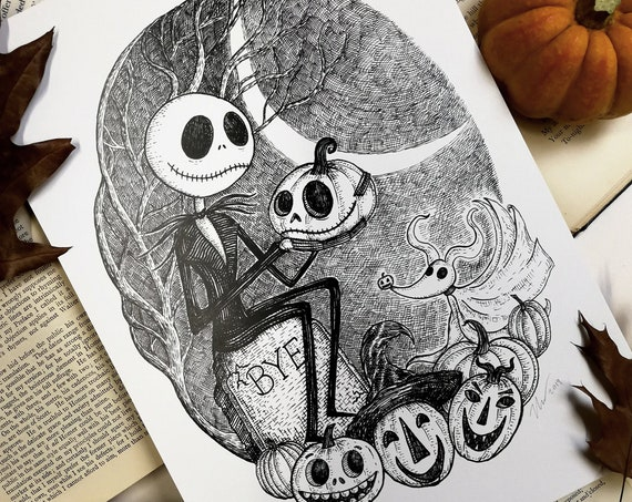 This Is Halloween- Jack Skellington inspired art print by Jon Turner- A4 A3 8x10