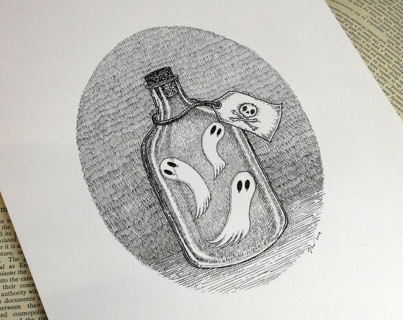 Bottled Spirits- spooky ghosts original ink drawing