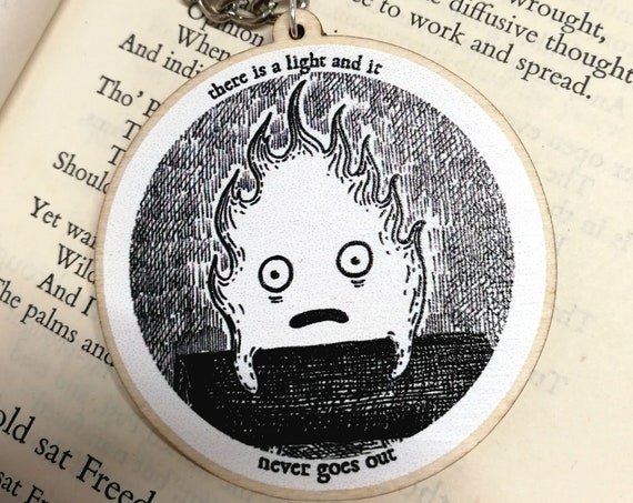 There Is A Light And It Never Goes Out wooden keychain- Calcifer Howl's Moving Castle