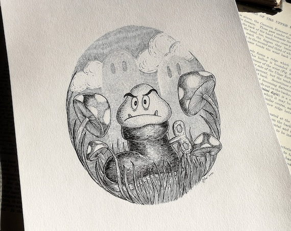 Goomba's Shoe- Original ink drawing- videogame inspired art