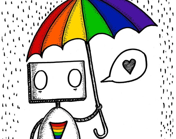 Rainbow Robot- art print by Jon Turner- LGBT Pride artwork- A4 A3 8x10